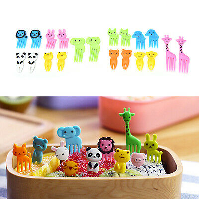 10X Kids Baby Lovely Animal Mini Cartoon Fruit Fork Toothpick Bento Lunch Hom ll