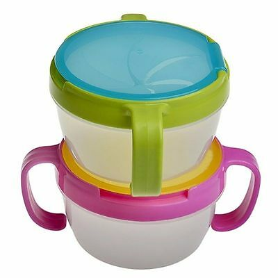 Baby Toddler Anti Spill Self-Feed Snack Bowl Catcher Food Keeper Pod Cup Bowl UK