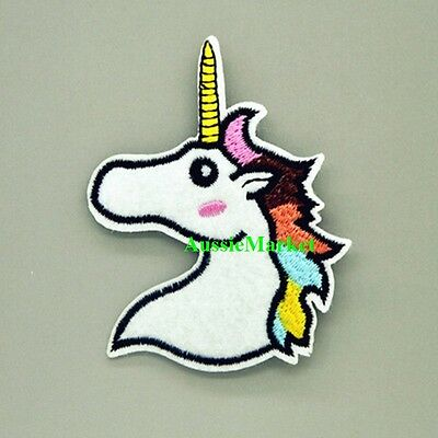 1 x unicorn patch clothes patches boys girls iron on sew on child kids horse new