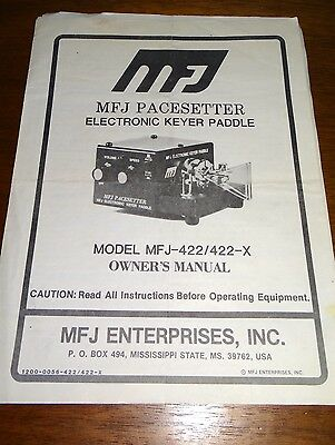 MFJ Model 422 422X Pacesetter Elecronic Keyer Paddle Owner's Manual Morse