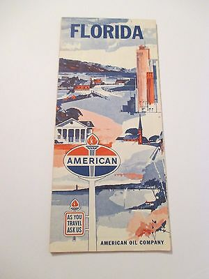 VINTAGE AMERICAN OIL FLORIDA Oil Gas Service Station Road Map