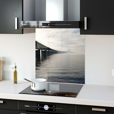 Kitchen Splashback Toughened Glass Heat Resistant Glass Sea Road p128362 60x65cm