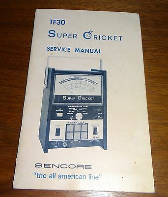 TF30 Super Cricket Sencore Owner's Service Manual Transistor Tester