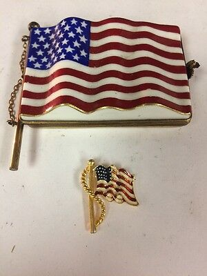 #808 19 C Usa Flag Memorial Government Jewelry Box Antique Collectible Italian