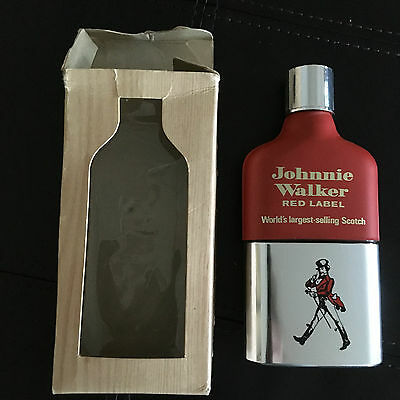 JOHNNY WALKER RED LABEL VINTAGE FLASK w/ BOX ENGLAND GLASS WITH CUP-EMPTY