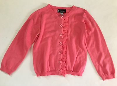 NEW Girls Pink Ruffle Front  Cardigan Sweater Sz 5 Sprockets Spring Easter