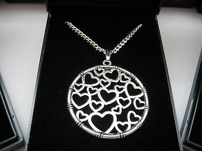 JobLot 20 Silver Plated Necklaces 18inch & Round Heart Design Pendant & gift box