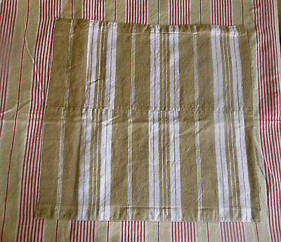 Antique Rustic Primitive French Red Tan Stripe Linen Ticking Fabric ~ Patch Mend