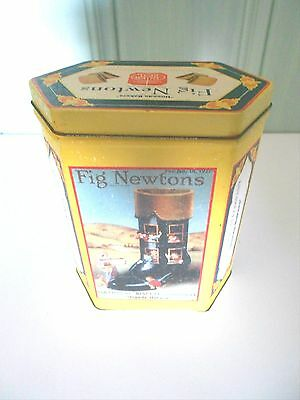 Nabisco Brand Fig Newtons Pentagon Tin Yellow Biscuit Container Rare Vintage