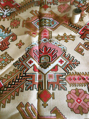 Antique 19thc Rare French Kilim Fabric ~ Rose Pink Red Brown Blue Black ~ unused