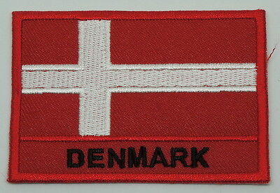 "DENMARK FLAG (with Name) EMBLEM PATCH SEW ON EASY TO USE 2""x3"""