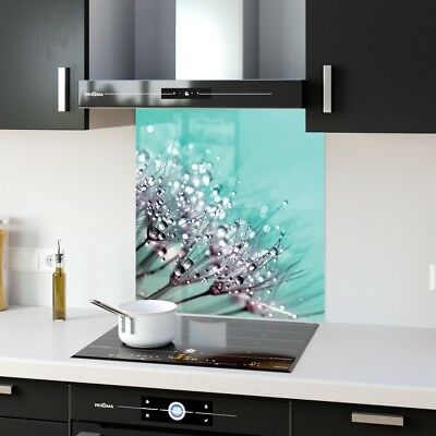 Kitchen Splashback Toughened Glass Heat Resistant Morning Dew p132419 60x65cm