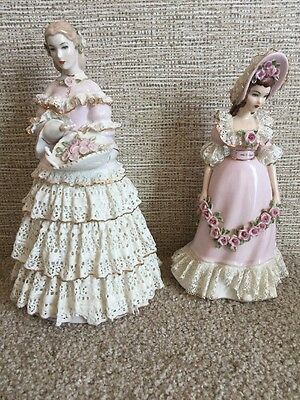 Vintage Lee Wollard Designed By Irene Porcelain Lace Figurines Wendy Nancy China