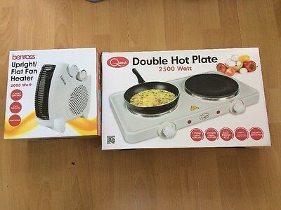 Benross Upright Fan Heater & Quest Double Hot Plate Set Home Holiday Camping