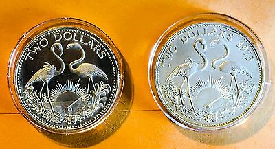 Bahamas $2 Dollars Sterling Silver Flamingo Coin Lot of 2 1973 & 1974