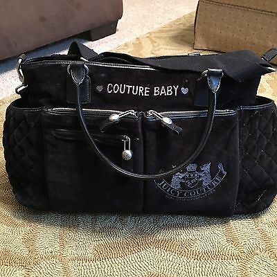 Large  Love Juicy Couture Baby Diaper Bag,Black Velour ,changing Pad Included.