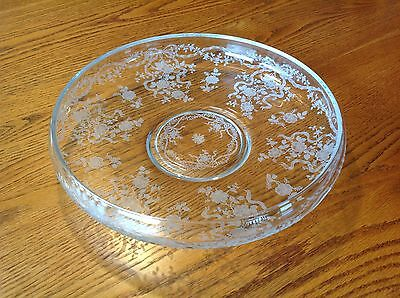 Vintage Fostoria Etched Glass Centerpiece Shallow Bowl Romance Pattern