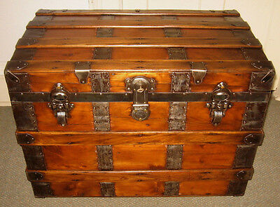 Antique Steamer Trunk Vintage Victorian Flat Top Wooden Travel Chest Tray&key