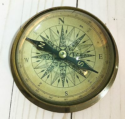 """4.5"""" Antiqued Brass Vintage Style Brass Doom Compass Magnifying Glass Marine"""
