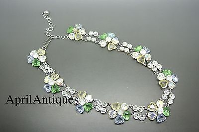 Vintage Christian Dior 50s heart-shape crystal flower collar Necklace