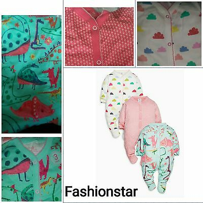 New* Bnwt Next Baby Girl 3-6-9-12 Month Cotton Dino Flower Sleepsuits/babygrows