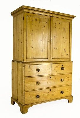 B670 Antique Scottish Victorian Pine Linen Press, Armoire, Chest of Drawers