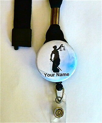 Lady Justice,legal,judge,court, Lanyard & Id Badge Retractable Reel Badge,nurse,