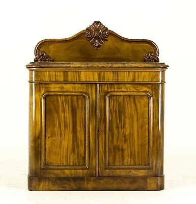 B636 Small Antique Victorian Flamed Mahogany Two Door Buffet, Sideboard