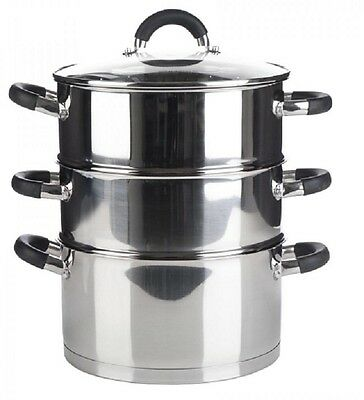 3 Tier Quality Induction Steamer Cooker Pot Set with Glass Lid Veg Food 20cm New