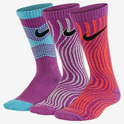 Nike Youth Socks 3 Pack Crew Fits Shoe Size 5Y-7Y Brand New Sx5415 951