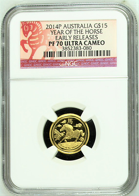2014-P Proof Australia Horse $15 Gold Coin NGC PF70 Early Releases.
