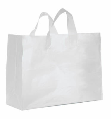 """Clear Bags Plastic 25 Retail Merchandise Shopping Frosted Frosty 16"""" x 6 x 12"""" H"""