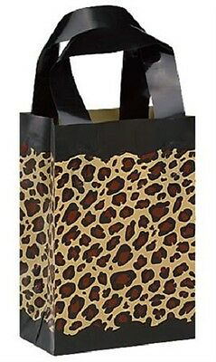 """Plastic Shopping Bags 100 Frosted Leopard Cheetah Safari Frosty 5"""" x 3"""" x 7"""""""