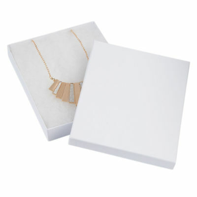 """Jewelry Gift Boxes 100 # 75 White Swirl Cotton Filled Lidded 7"""" X  5 ½"""" X 1"""""""