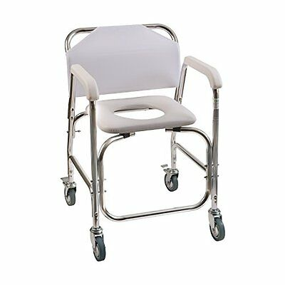 Duro-Med Shower Chair With Wheels, Commode Chair and Padded Toilet Seat, Shower