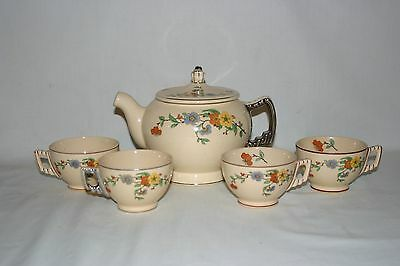 Vintage Leigh Ware Flowered Tea Set w/4 cups