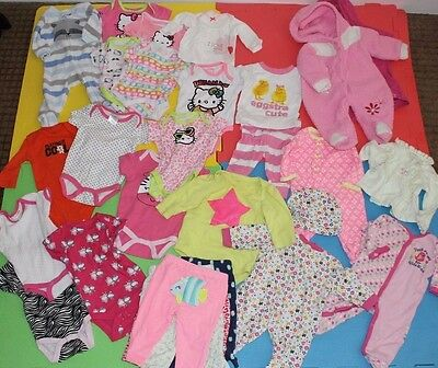 Huge 25+ PC Lot 0-3 Month Baby Girl Infant Clothes Outfits Set Rompers Onesies