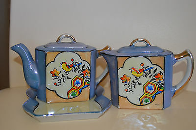 Vintage Art Deco Nippon Blue & Orange Handpainted Lusterware Tea Set Japan