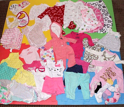 Huge 50+ PC Lot Newborn 0-3 Month Baby Girl Infant Clothes Outfits Set Rompers