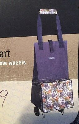 DIVOGA Folding Compact Shopping Bag Tote Cart With Wheels Navy Blue White Canvas