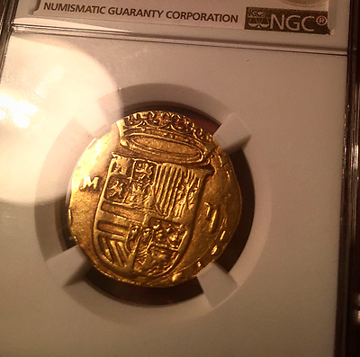 Philip II (1556-98) GOLD COB 2 Escudos NGC 35! SPANISH DOUBLOON **Superb Crown**