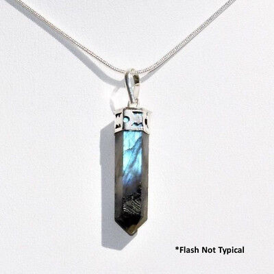 """Faceted Madagascar Labradorite Crystal Point Pendant + 20"""" Silver Chain WOW!"""