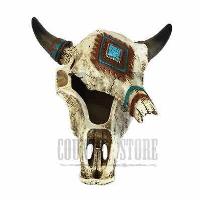 Rustic Southwest Steer Cow Bull Skull TRINKET Container - Decorative, Table Top
