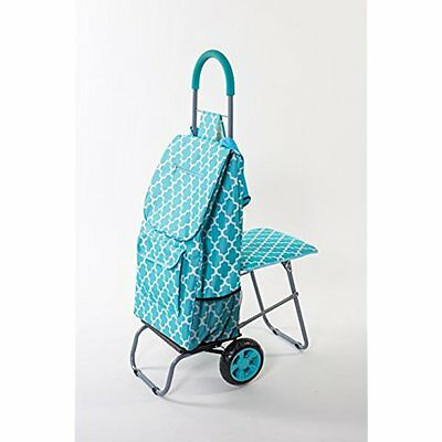Trolley Dolly with Seat, Moroccan Tile Shopping Grocery Foldable Cart Tailgate