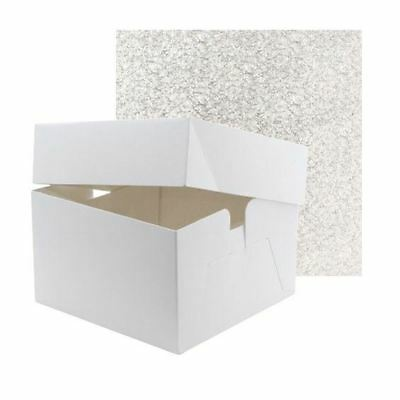 "White Birthday Wedding Cake Box Boxes & Lid 6"" High With Drum Board 12mm thick"