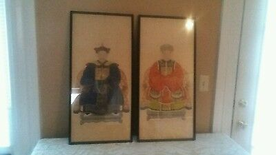 Rare Antique Chinese Emperor & Empress Watercolor & Gouache On Paper Paintings