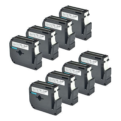 """8 Pack M231 MK231 M-K231 Black on White Label Tape for Brother P-touch 12mm 1/2"""""""