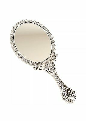 Vintage Style Chic Beauty Cosmetic, Vanity Mirror/ Hand Held Mirror, Silver, New