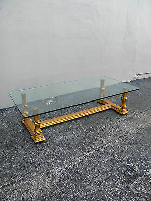 Mid-Century Hollywood Regency Gold-Leaf Glass Top Coffee Table 2460