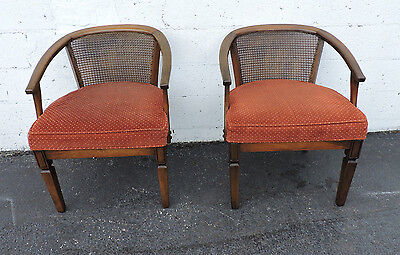 Hollywood Regency Pair of Caned Barrel-Shape Side by Side Chairs 7668